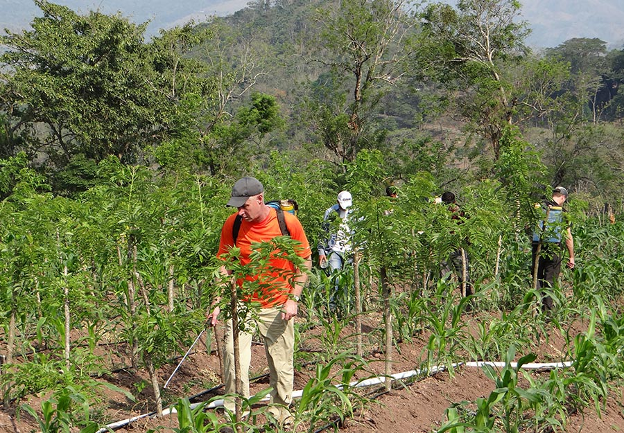 Keith Kemper, partner at ELM, tries his hand at organic fertilizing, one of many sustainable farming methods practiced at Agroaldea San José.