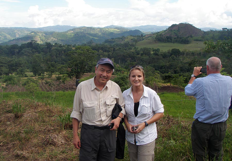 ELM partners Skip Li and Lana Floyd pause to take in the beauty surrounding San José. In Nicaragua, much of the farmland is mountainous, volcanic terrain.